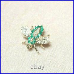 Vintage 14K Yellow Gold Emerald and Diamond Bee Brooch Pin NO RESERVE