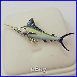 Vintage 14K Yellow Gold Enamel Marlin Sword Fish Brooch Pin 7.1gr
