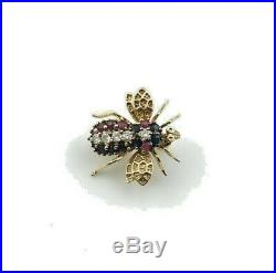 Vintage 14K Yellow Gold Ruby, Sapphire & Diamond Bee Fly Insect Brooch Pin