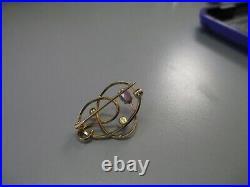 Vintage 14K yellow gold Van Dell Brooch Pin Pearl 2.3 Grams not scrap
