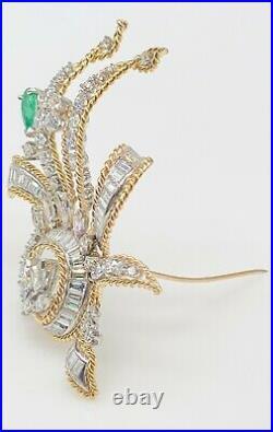Vintage $14,000 7ct VS G Diamond Emerald 14k Yellow Gold Platinum Brooch PIN 17g