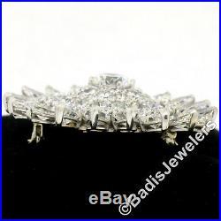 Vintage 14k Gold 12.12ctw Pear & Round Diamond Cluster Daisy Pendant Brooch Pin