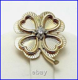 Vintage 14k Gold 1/5ct Diamond Lucky 4 Four Leaf Clover Hearts Brooch Pin