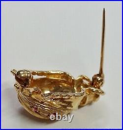 Vintage 14k Gold Beetle Fine Gem Quality Ruby Brooch Pin