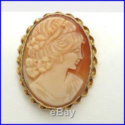 Vintage 14k Gold Goddess Flora Carved Shell Cameo Brooch Pin Pendant