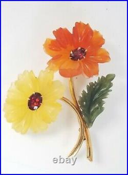 Vintage 14k Gold Jade Garnet Carved Flower Brooch Pin-Designer Jewelry-Large 13g