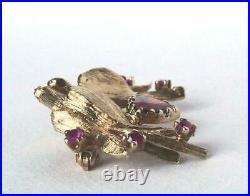 Vintage 14k Gold Kissing Love Birds Garnet Heart Ruby Brooch Pin Valentine 6.2gr