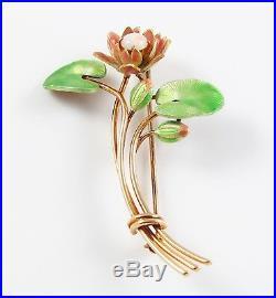 Vintage 14k Gold Krementz Enamel Blooming Water Lily Fire Opal Brooch Pin