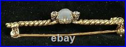 Vintage 14k Gold Moonstone Diamond Brooch Pin Moonstone Jewelry- Estate Jewelry