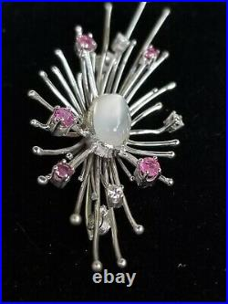 Vintage 14k Gold Moonstone Diamond Ruby Pin Brooch-Estate Jewelry 7.6g