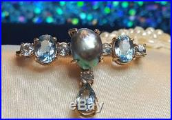 Vintage 14k Gold Rare Black South Sea Tahitian Pearl Pin Brooch Aquamarine Gems