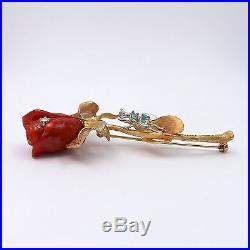 Vintage 14k Gold Red Coral Long Stem Rose Diamond Emerald June Bug Brooch Pin
