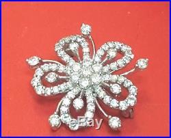 Vintage 14k White Gold Diamond Brooch Ornate Snowflake Flower Pin 2 Tcw