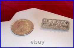 Vintage 14k White Gold Seed Pearl Topaz Filigree Small Brooch Pin Antique 2.4 Gr