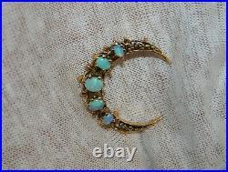 Vintage 14k Yellow Gold Crescent Moon Natural Opals Pin Brooch 29mm
