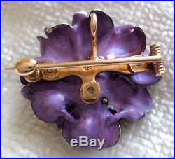 Vintage 14k Yellow Gold Diamond Enamel Flower Brooch Pin Pendant Estate Antique