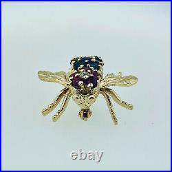 Vintage 14k Yellow Gold & Diamond Sapphire Bee Pin Brooch