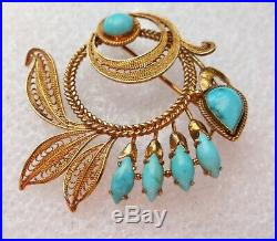 Vintage 14k Yellow Gold Filigree Turquoise Brooch Pin