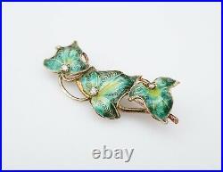 Vintage 14k Yellow Gold Green Enamel Ivy Leaf Diamond Pin Brooch 1.7 OG283