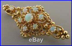 Vintage 14k Yellow Gold Multi Color Opal Brooch Pin