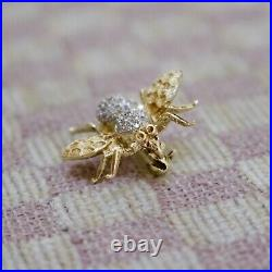 Vintage 14k Yellow Gold Pave Bee Pin Brooch With 34 Genuine & Natural Diamonds