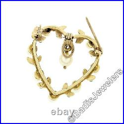 Vintage 14k Yellow Gold Round Pearl & Turquoise Heart Dangle Brooch Pin Pendant