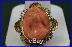 Vintage 14k Yellow Gold Victorian Coral Cameo Etruscan Carving Brooch Pin
