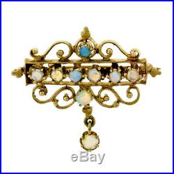 Vintage 14k Yellow Gold Victorian Revival Round Opal Open Work Dangle Brooch Pin