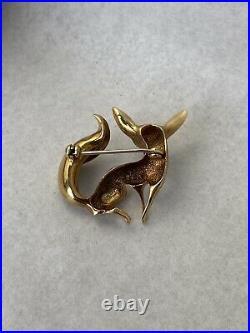 Vintage 14k gold German Henkel & Grosse abstract modernist fox brooch pin