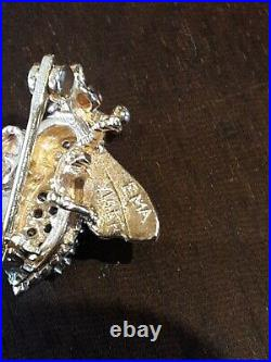 Vintage 14k gold with diamonds fly bee brooch pin EMA Jewelry