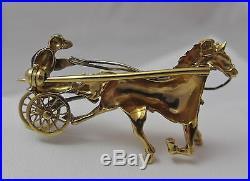 Vintage 18K Gold & Enamel Harness Horse Racing Driver Jockey Brooch Pin 8.3Gr