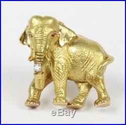 Vintage 18K Gold and Diamond Textured Elephant with Tusks Brooch Pin