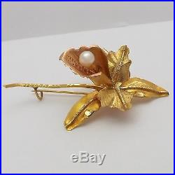 Vintage 18K Rose & Yellow Gold 3D Seed Pearl Orchid Flower Brooch Pin 3.9gr