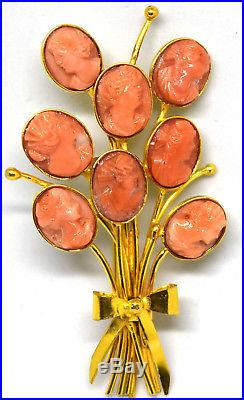 Vintage 18K Solid Yellow Gold and Untreated/Undyed Coral Cameo Pin/Brooch
