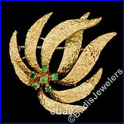 Vintage 18K Yellow Gold 0.36ctw Round Emerald Nugget Textured Flames Pin Brooch
