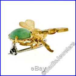 Vintage 18K Yellow Gold Oval Cabochon Jade Textured Bumble Bee Fly Brooch Pin