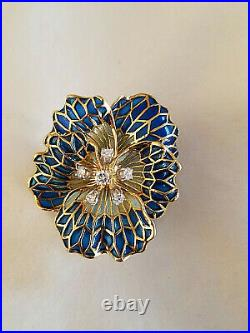 Vintage 18K Yellow Gold Plique A Jour Flower Brooch Pin WithDiamonds