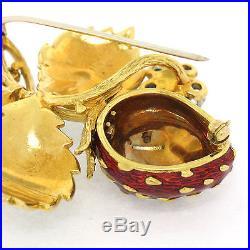 Vintage 18k Gold Detailed Diamond Red & Green Enamel Large Strawberry Brooch Pin