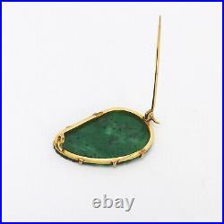 Vintage 18k Gold Genuine Chinese Green Jade Jadeite Strawberry Carved Brooch Pin