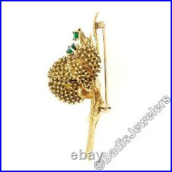Vintage 18k Gold Round Diamond Emerald Detailed Blooming Open Flower Brooch Pin