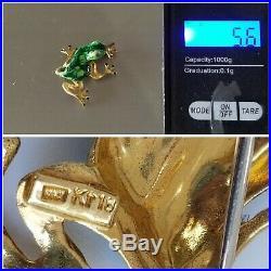 Vintage 18k Gold Ruby Enamel Frog Brooch Pin-Estate Jewelry