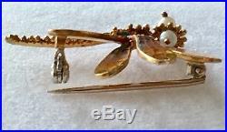 Vintage 18k Plique A Jour Dragonfly PinBrooch