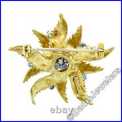 Vintage 18k Yellow Gold 0.50ct Sapphire Textured Grooved Swirl Flower Brooch Pin
