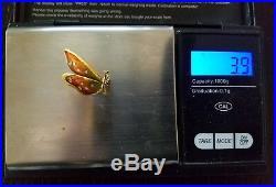 Vintage 18k Yellow Gold Diamond Guilloche Enamel Butterfly Pin Brooch Birks 3.9g