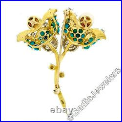 Vintage 18k Yellow Gold Round Turquoise Pearl & Diamond Dual Flower Brooch Pin