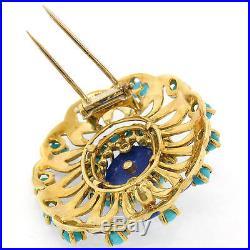 Vintage 18k Yellow Gold Turquoise Lapis & Diamond Blue Enamel Cluster Pin Brooch
