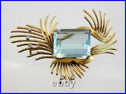 Vintage 18k Yellow Gold and Aquamarine with White Sapphire Brooch Pin 17.1 Grams