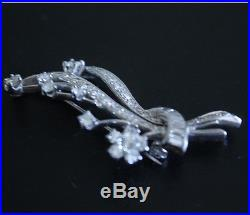 Vintage 1950's Diamond 14k White Gold Floral Brooch Pin 1.5 Carats