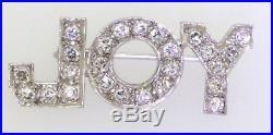 Vintage 1950s 14K white gold elegant. 50CT VS1/F diamond JOY pin/brooch