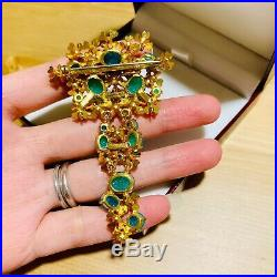 Vintage 1967 Christian Dior Germany Gold Plated Aquamarine Coral Brooch Pin
